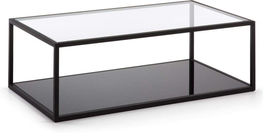 Laforma salontafel blackhill glas en staal zwart 110 x 60 x 35 cm la
